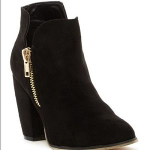 Michael Antonio Black Ankle Boots with Gold Zipper